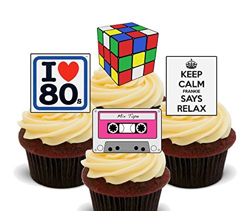 I love the 80s – Essbare Kuchen Dekorationen – Stand-Up Wafer Cupcake Topper, 12er-Pack