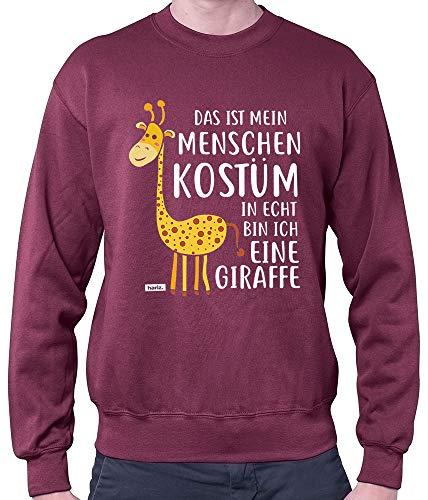 HARIZ Herren Pullover Das Ist Mein Menschen Kostüm Giraffe Karneval Kostüm Plus Geschenkkarten Wein Rot L