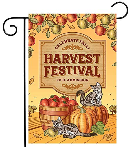 Thanksgiving Day Autumn Harvest Festival Cat Garden Yard Flag Double Sided, Polyester Pumpkin Apple Fruit Welcome House Flag Banners for Patio Lawn Outdoor Home Decor Size: 12.5-inches W X 18-inches H Apple Harvest Festival