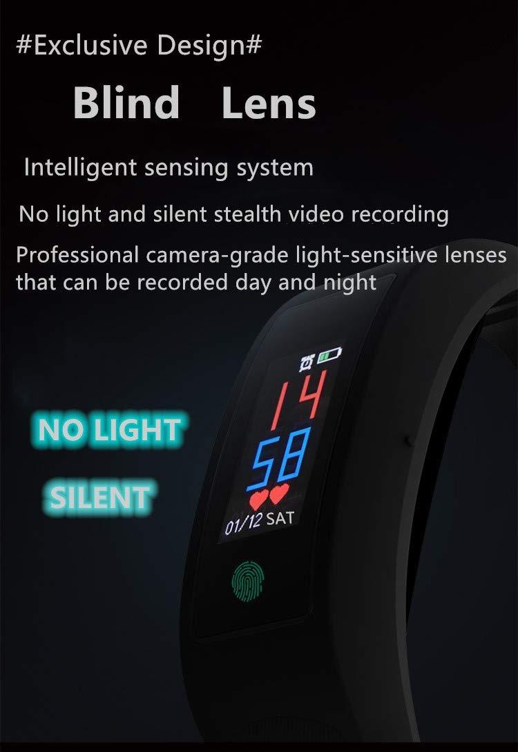 Cámara Espía Oculta Deporte Pulsera, Cámara Espía Inteligente Reloj, Mini Video cámara espía Actividad Rastreador, 1080P Videocámara Smartwatch con Pulsómetro para Teléfono-16GB 5