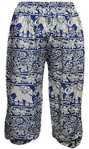 Shopoholic Moda Mujeres Elefante Impresión Hippie harén Pantalones Azul Azul M