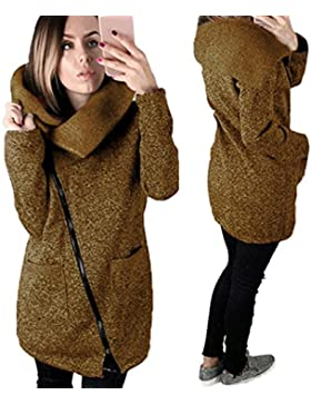 FNKDOR Chaqueta de las nuevas mujeres, abrigo ocasional de las muchachas sudadera con capucha larga Outwear Tops