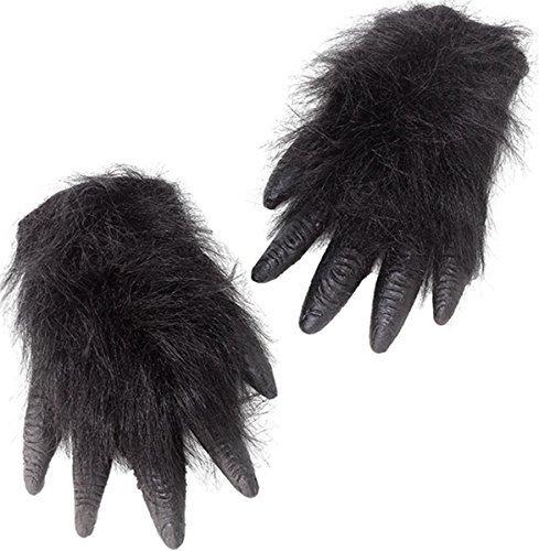 Unisex Erwachsene Kostüm Halloween Party Zubehör Gorilla Behaarte Hände & Fuß - Hände, One (Halloween Gorilla Kostüme)