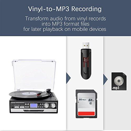 Belt Drive 3 Speed Giradischi con LCD Display Supporta USB/SD codifica in MP3, MUSITREND Cassetta e MP3/WMA/registratore, radio AM/FM, AUX IN e uscita RCA, Presa per cuffie