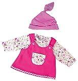 Bayer Design 83862 - Kleidung für Puppen circa 38 cm, Latzkleid mit Shirt und Ringelmütze