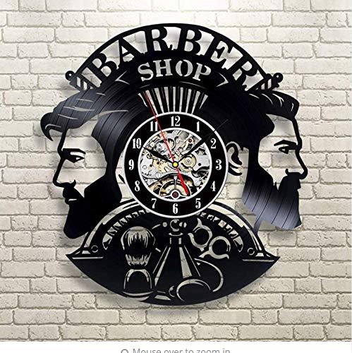 Qwerlp Barber Shop Wall Clock Modern Design Barbershop Vinyl Record Clocks  Hairdrer Wall Watch Wall Decor