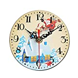 Junjie Silent Sweep Weihnachtsuhr,Weihnachten Clock Bell Schreibtisch Creative Digital Clock Kreative Digitaluhr Dimension 12x12cm
