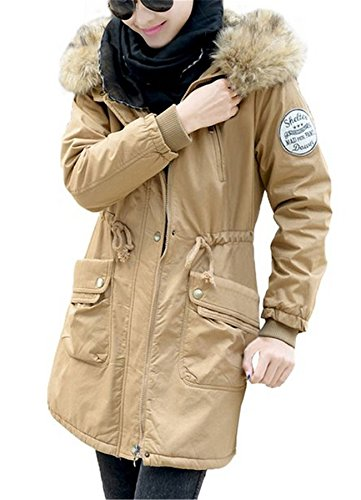 Ramonala Damen Wintermantel mit Kapuze Lange Zipper Fleece Winter Jacke Parka