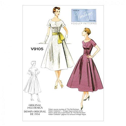 Vogue Damen Schnittmuster 9105Original 1954Vintage Kleid Design + Gratis Minerva Crafts Craft Guide Vintage Vogue