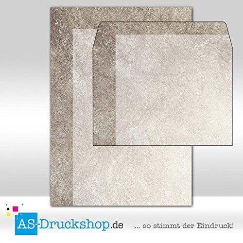 Papier + Umschläge DIN A5 Textur - Struktur - brauner Granit/100 Sets (Granit 3 Licht)