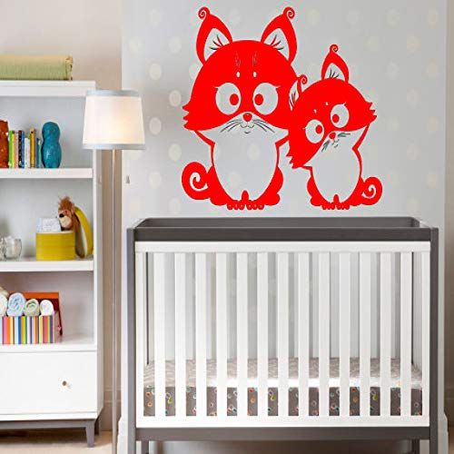 Zwei lustige Eulen niedlichen Wandaufkleber Baby Kinderzimmer Home Art Decor Tier Serie Wandbild Vinyl abnehmbare Aufkleber 2 42x59 cm -