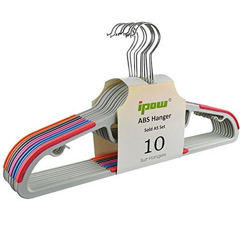 Ipow-Juego 10 Perchas Plásticas Antideslizantes Ropa