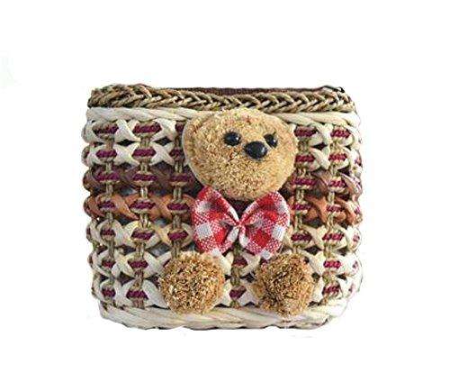 tonwhar femmes de paille de plage style bohème sac fourre-tout sac à bandoulière Multicolore Color 1-bear Color 2-bear