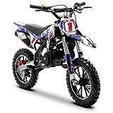 Funbikes Blue Kids Dirt Bike - 50cc Childrens Petrol Motorbike Mini Motocross Scrambler