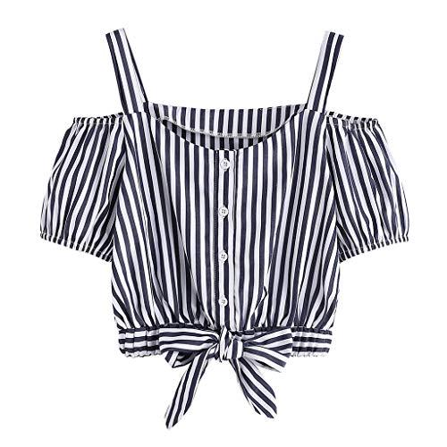 YWLINK Damen Sommer Off Schulter Elegant Party Strand T Shirt Klassisch Streifen Kurze ÄRmel Camisole Crop Tops Taste Knoten Bluse(Marine,S) - Klassische Strand-streifen-shirt