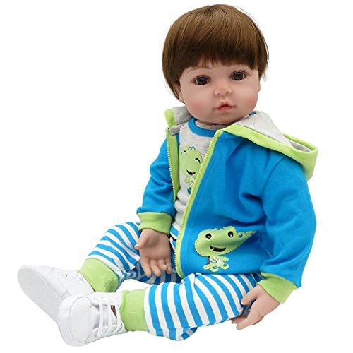 Yesteria Baby Puppe Kleinkinder Junge Lebensecht Weicher Körper Kleinkind Blaues Outfit 60cm (Für Kleinkind Jungen Baby-puppe)