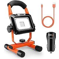 Akku-Baustrahler, Tacklife 15 W LED Flutlicht, aufladbarer und tragbarer Strahler mit 760 Lumen, 2 USB-Anschlüssen und Ständer, 4 Leuchtmodi, IPX5, ideal zum Gebrauch im Freien sowie in geschlossenen Räumen (inkl. 1,5 m USB-Kabel, Kfz-Ladegerät)