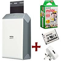 Bundle: Fuji Instax SHARE SP-2 Smartphone WiFi Portable Instant Photo Printer + 20 Instax Mini Prints + Spare NP-45 Battery and Mains / USB Charger ( Wireless Printer For iPhone iPad and Android, Print instant credit card sized photos from your phone or tablet wirelessly, personalise your prints with templates and styles )
