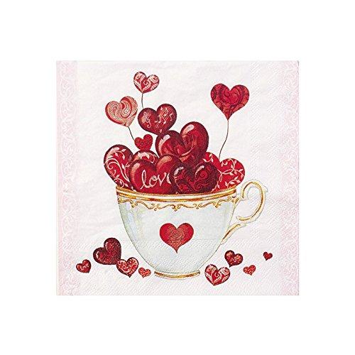 Ambiente motivo de la servilleta: con diseño de corazones - Copa de corazón para amor, día de San Valentín, boda - 20 Servilletas pro manada, 33 x 33 cm width=