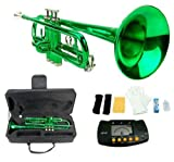 Makan B Flat Green/Metro Tuner Silver Valve Trumpet Mouth Piece Euphonium & Tubas Wind Musical Instrument With Case