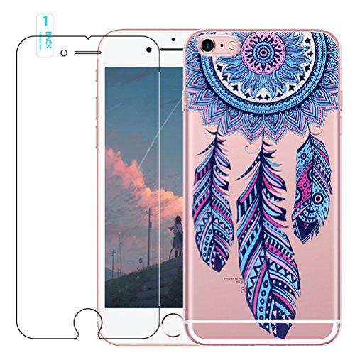 Coque iPhone 6 Plus / 6S Plus avec Verre Trempé, blossom01 Cute Motif Dreamcatcher Premium TPU Souple Etui de Protection [absorbant les chocs] [Ultra mince] [Anti-rayures] pour iPhone 6 Plus / 6S Plus #02