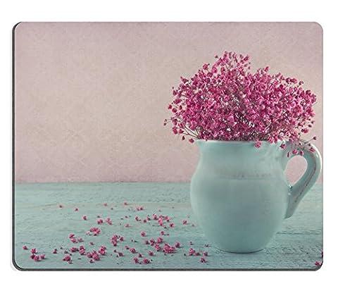 MSD Tapis de souris en caoutchouc naturel Image 20214333Cupcakes Rose avec des fraises et Sprinkles vintage Plateau Bleu rétro Serviette 1973