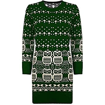 Womens Ladies Knitted Owl Print Long Sleeves Sweater Pullover Long Jumper Top