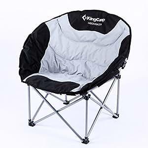 Kingcamp Chaise de Camping Lune Deluxe Pliable Acier 86X69X40 cm Noire/Grise Charge maxi: 120 kg