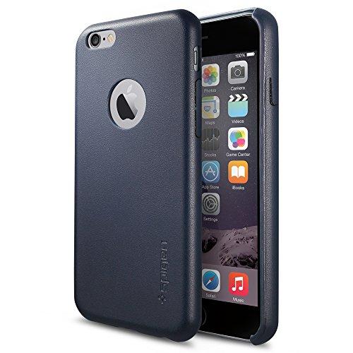 """iPhone 6 (4,7"""") (2014) Coque, Spigen® [REVETEMENT EN CUIR] iPhone 6 (4,7"""") (2014) Coque Fine **NOUVEAU** [Leather Fit] [Midnight Blue] Coque Rigide et Fine avec Revêtement en Cuir pour iPhone 6 (4,7"""") (2014) - Midnight Blue (SGP11355)"""