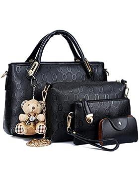 Damen PU Leder Handtaschen 4 Set Umhängetasche Frauen Handtaschenset Geldbörse Vintage Style Leder Tasche Handgelenktasche...