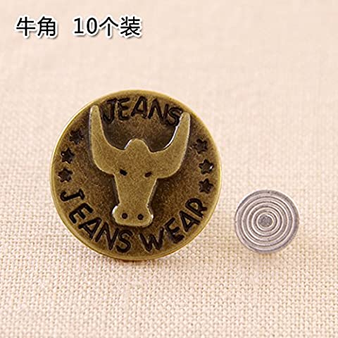 UWSZZ Bib Accessories button jeans denim jacket bib button buttons buttons made of metal men and women 10 -Pack 10 -Pack horns