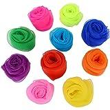 Pañuelos de Colores para Malabares Baile Magia Bufandas de Banda de Rítmo de Trucos, 10 Piezas