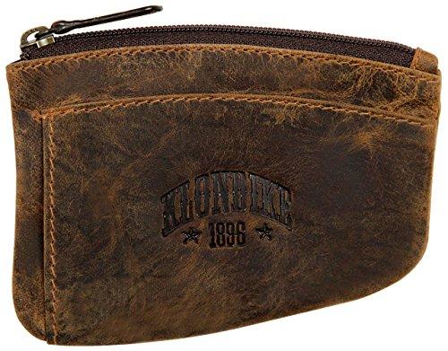 Klondike 1896 Logan, Echtleder Schlüsseletui, Hochwertiges Leder Schlüsselmäppchen für Damen und Herren, Dunkelbraun