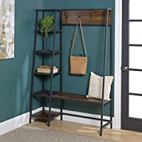 WE Furniture Hall Tree Coat Rack Shoe Bench Entryway Organizer 5-Tier Storage Shelf with 4 Hooks