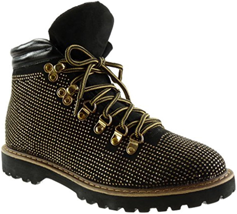 Angkorly - damen Schuhe Stiefeletten - Biker - Strass - gesteppt schuhe - Fertig Steppnähte Blockabsatz 2.5 CM