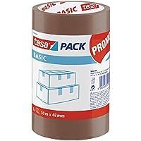 tesa Basic Pack - Pack de 3 cintas de embalaje, color marrón