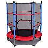 COSTWAY Trampolin mit Sicherheitsnetz | Gartentrampolin Ø140cm | Kindertrampolin | Fitness Trampolin | Indoor-/Outdoortrampolin Sprungmatte