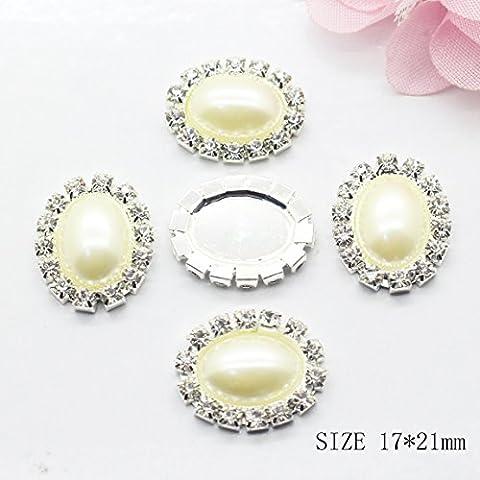 50pcs 17mm x 21mm Oval Pearl Embellishment Rhinestone Button Flat-back DIY Accessories