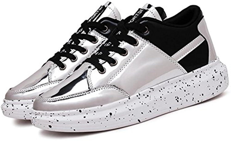 Männer Schuhe PU Turnschuhe Glossy Casual Schuhe Mode Sportschuhe Outdoor Laufschuhe GAOLIXIA
