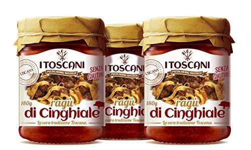 Ragù di Cinghiale 3 confezioni da 180 g - i Toscani - pomodoro, cipolla, carota, olio extravergine di oliva, senza glutine, senza conservanti aggiunti, italia