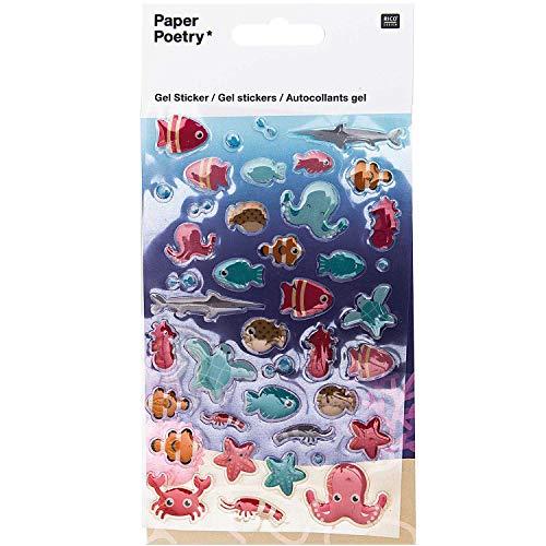 Rico Design Gel Sticker 1 Bogen zum Dekorieren Basteln Fische Quallen Krebse