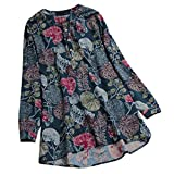 Xmiral Tops T-Shirt Plus Size Damen Casual Oansatz Druck Langarm Frauen Lange Bluse Taste Polyester(5XL,Grün)