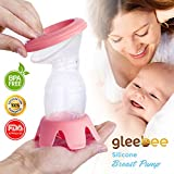 Gleebee Manual Breast Pump With Lid &Base | 100% Food Grade BPA Free Silicone | Portable Hands-Free Design Ideal For Travel And Collecting Letdown While Breastfeeding | (pink)