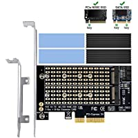 Dual M.2 PCIe Adapter with Advanced Heat Sink, 6amlifestyle M2 NGFF SSD and NVME SSD to PCI-e 3.0 x4 Host Controller Expansion Card Support 2280 2260 2242 2230 with Low Profile Bracket