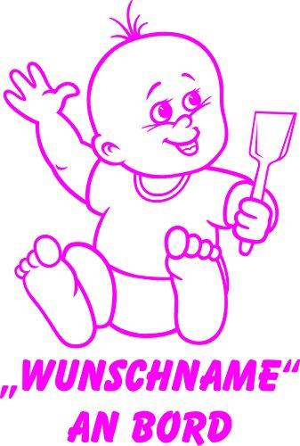 INDIGOS UG - Babyaufkleber / Kinderaufkleber 081 mit Wunschname / Wunschtext an Bord ca. 20 cm Höhe - Autoaufkleber in verschiedenen Farben