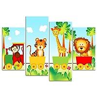 Rubybloom Designs Childrens Jungle Animals Train - Lion, Tiger, Giraffe & Monkey 4 Panels Canvas Print