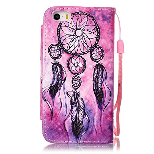 iPhone 5S Hülle, ISAKEN iPhone 5S 5 Hülle Muster, Handy Case Cover Tasche for iPhone 5S/5, Bunte Retro Muster Druck Flip Cover PU Leder Tasche Case Schutzhülle Hülle Handy Tasche Etui Schale mit Stand Dream Catcher