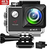 Victure vic 4K WiFi Waterproof Sports Camera Video Camera 170° Water Absorption Wide Angle 2 1050mAh Batteries with 20