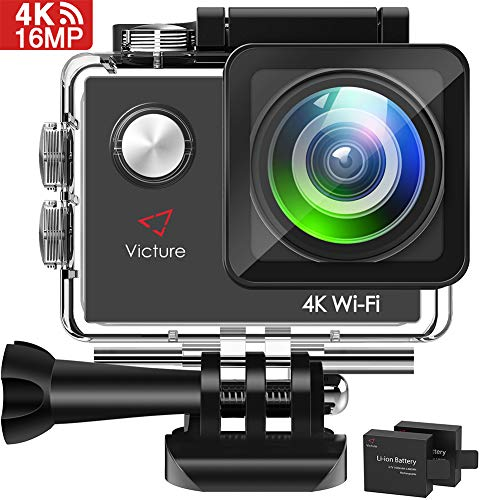 Victure AC600 Action Cam 4K WiFi Kamera Unterwasserkamera 16MP Ultra HD Sport Camera Wasserdicht für 30M Helmkamera 170 ° Weitwinkelobjektiv mit 2 Verbesserten Batterien und Kostenlose Zubehör Kits