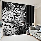 Wapel El Lujo Moderno 3D Cortinas Blackout para Dormitorio Salón Oficina Hotel Animal Tigre Blackout Shade Cortinas 240X260CM